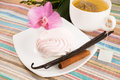 Tea bag and pink marshmallow on a saucer with a vanilla, cinnamon Royalty Free Stock Images