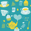 Tea bags and tea cups print Stock Image