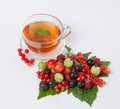 Tea with berry platter hot black Royalty Free Stock Photo