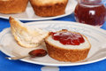 Tea biscuit with strawberry jam Royalty Free Stock Photography