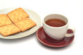 Tea and biscuits breakfast cup of Stock Images