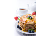 Tea with blueberry pancakes Royalty Free Stock Photo