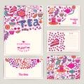 Tea Branding Design. Coffee and Tea design set cards. Sweet patt Royalty Free Stock Photo