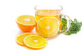 Tea break orange tea fresh orange slice parsley Royalty Free Stock Photos