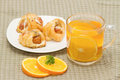 Tea break orange tea little croissant Royalty Free Stock Image