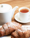 Tea breakfast with croissants and drink Stock Image