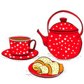 Tea with buns Royalty Free Stock Photo