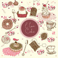 Tea and cake background