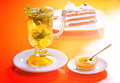 Tea and cake fresh with mint lemon slices Royalty Free Stock Photography