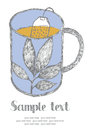Tea card blue mug of hand drawn Royalty Free Stock Photography