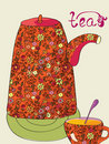 Tea card with pot Royalty Free Stock Photo