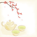 Tea ceremony traditional oriental teapot and cups with plum blossom Royalty Free Stock Photography