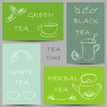 Tea chalky doodles on banners illustration of Stock Image