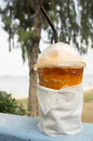 Tea chill scenic beach relax drink cup of tea concept Royalty Free Stock Photography