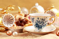 Tea for Christmas with sweet cookies Royalty Free Stock Image