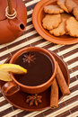 Tea with cinnamon sticks and star anise Stock Photos