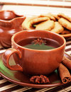 Tea with cinnamon sticks and star anise Royalty Free Stock Image