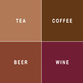 Tea, coffee, beer and wine