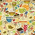 Tea and coffee doodle seamless pattern. Royalty Free Stock Photo