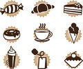 Tea coffee and food icons set Stock Images
