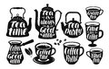 Tea, coffee label set. Vintage kettle, teapot, cup, teacup, hot drink, turk icon or logo. Lettering, calligraphy vector