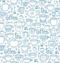 Tea and coffee pattern seamless with lots of cups pots for with Royalty Free Stock Photography