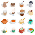 Tea and coffee set, isometric 3d style