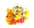 Tea cup with calendula flowers cherry berry reflection Royalty Free Stock Photo