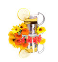 Tea cup with calendula flowers cherry berry reflection Royalty Free Stock Image