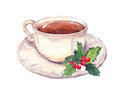 Tea cup with christmas mistletoe. Watercolor