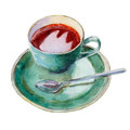 The tea cup with dish and spoon isolated on white background, watercolor illustration