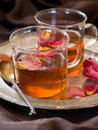Tea a cup of floral with rose petal selective focus Royalty Free Stock Photos