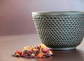 Tea cup and flowers metal Stock Photo