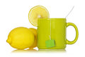 Tea cup with a lemon Royalty Free Stock Photo