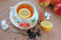 Tea cup with lemon Stock Photography