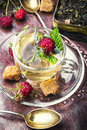 Tea cup with raspberry tea Royalty Free Stock Photo