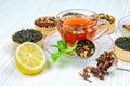 Tea, Cup of tea, various kinds of tea, tea on the table Royalty Free Stock Photo