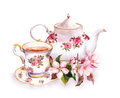 Tea - cup and teapot with flowers. Vintage watercolor design
