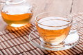 Tea cup and teapot with green tea Royalty Free Stock Photo