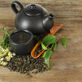 Tea - cup, teapot, leaves Royalty Free Stock Photo