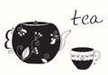 Tea cup and teapot menu Stock Photo