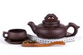 Tea, cup, teapot and meter Royalty Free Stock Photography