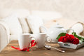 Tea cups with roses for valentine s day Stock Photography