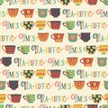 Tea cups vector seamless pattern background beige. Tea-riffic times lettering. Tea time. Hand drawn mugs. Cute retro print for