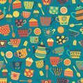 Tea cups vector seamless pattern background teal. Tea time cups, teapot, spoons, cupcakes. Hand drawn. Cute retro print for