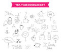 Tea doodle vector elements hand drawn illustration of doodles sketch isolated on white background Stock Image
