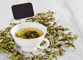 Tea from the dried leaves of mint cup fresh and board for writing Royalty Free Stock Photography