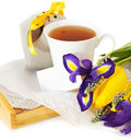 Tea with flowers and gift box for mom Royalty Free Stock Image
