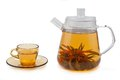 Tea with flowers in glass teapot and cup. Royalty Free Stock Photos