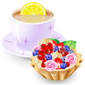 Tea and fruit basket Royalty Free Stock Photo